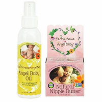 Earth Mama Angel Baby Natural Nipple Butter, 2-Ounce Jar PLUS Angel Baby Oil, 4 Ounce