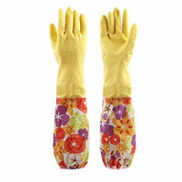 Sealike Floral Flower Latex Gloves Water Stop Waterstop Gloves Household Gloves Dishwashing Gloves Cleaning Gloves Yellow with Stylus