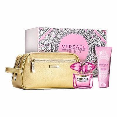 Versace Bright Crystal Absolu 3 pcs Gift Set by Versace 3.0 oz / 90 ml EDP Spray, 3.4 oz / 100 ml Body Lotion & Pouch