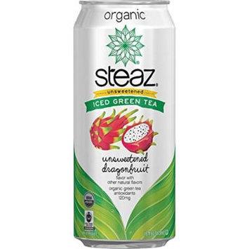 Steaz Organic Green Tea Unsweetened Dragon Fruit 16 Oz - Case of 12