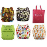 Blueberry Deluxe One Size Cloth Diaper with Microterry Insert -Snap - 6 Pack Gender Neutral Colors, with Reusable Dainty Baby Bag Bundle