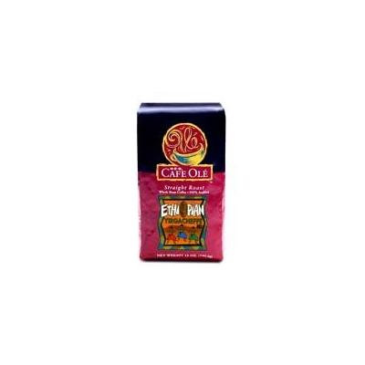Cafe Ole Straight Roast ETHIOPIAN YIRGACHEFFE Whole Bean Medium Roast 12 oz (Pack of 2)