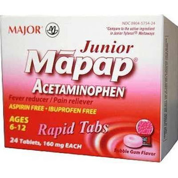 Mapap Junior 160mg Rapid Chewable Bubblegum Tabs, 24 CT - Compare to Junior Tylenol Meltaways