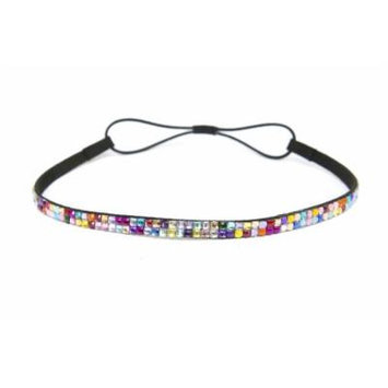 SIZZLE CITY Custom Color Bling Shimmering Rhinestone Elastic Stretch Headbands (Thin Rainbow)