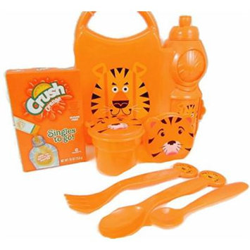 Tiger Lunch Box Bundle One Water Bottle, One Spoon, One Fork, One Sugar Free, Caffeine Free Crush Orange Drink Mix, One Small Orange Spoon, Two Tiger Snack Containers