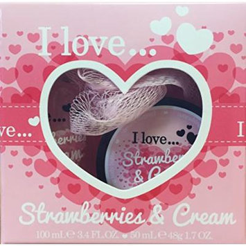 I Love... Mini Bubble Bath & Shower Creme Set (Strawberries & Cream)