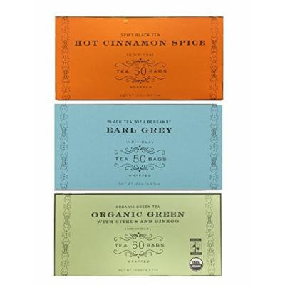 Harney & Sons Variety Pack Total of 150 Tea Bags (50 Bags Earl Grey,50 Bags Hot Cinnamon Spice,50 Bags Organic Green with Citrus and Ginkgo)