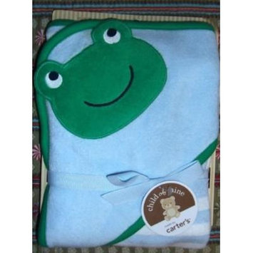 Baby Carter's Green Blue Stripe Frog Bath Hooded Towel Cotton Blend Terry NEW