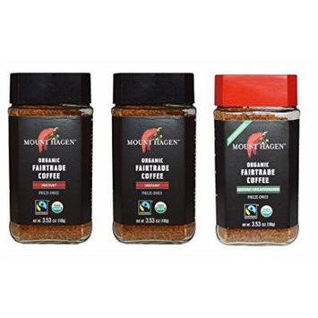 Mount Hagen Organic Freeze Dried Instant Coffee- 3.53 Oz Each ,Variety Pack ,2 Jar Regular + 1 Jar Decaff, (Pack of 3)