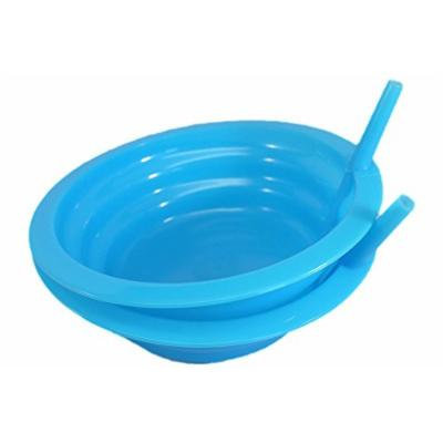 Good Living Set of 2 Sip-A-Bowl Cereal Bowls With Built-In Straw, Blue, 1-pack