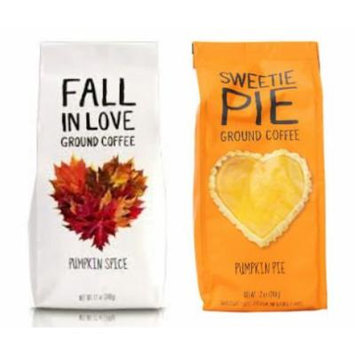 Pumpkin Ground Coffee Bundle: 2 Items- Sweetie Pie Pumpkin Pie 12 Oz. And Fall in Love Pumpkin Spice 12 Oz.
