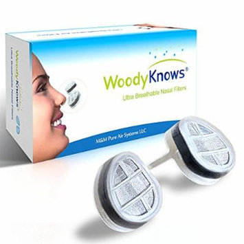 WoodyKnows Ultra Breathable Nose / Nasal Filters (New Model) for Hay Fever, Pollen & Dust Allergies, Pet Hair and Dander Allergy, Allergic Asthma, Sinusitis, Rhinitis Relief Reliever, Block Allergens Airborne Particles, Portable Air Purifier Cleaner...