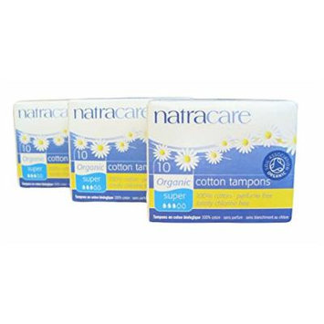 Natracare - Super Organic and Natural Cotton Tampons - Applicator-free - 10 Count Boxes - Pack of 3