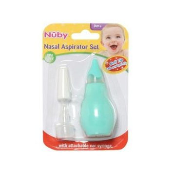 Nuby Nasal Aspirator and Ear Syringe Set, Green