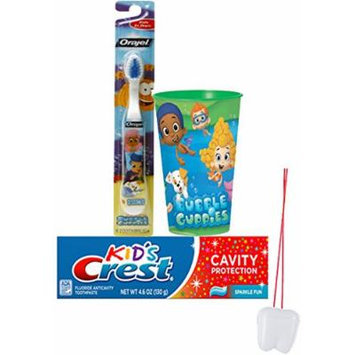Nickelodeon Bubble Guppies 3pc Bright Smile Oral Hygiene Set! (1) Bubble Guppies Soft Manual Toothbrush, Crest Anticavity Toothpaste & Mouthwash Rinse Cup! Plus Bonus