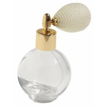 2.65 Ounce (78 Ml) Empty Round Refillable Perfume Bottle with Antique Style Ivory Bulb Spray Atomizer