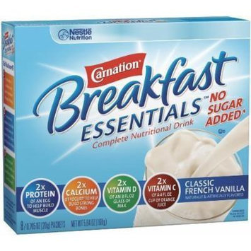 Nestlé Carnation Instant Breakfast Essentials, No Sugar Added Classic French Vanilla Powder, 8-Count Envelopes (Pack of 8)