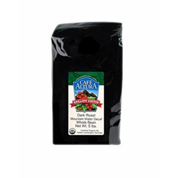 Cafe Altura Whole Bean Organic Coffee, Dark Decaf Mountain Water, 5 Pound