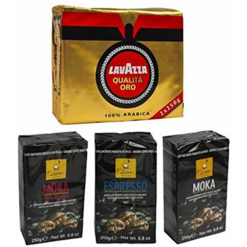 Set Italian Coffee: Lavazza Qualità Oro, Filicori Moka, Filicori Moka 100% Arabica, Filicori Espresso * 8.8 Ounce (250gr) Packages (Pack of 5 Assorted) * [ Italian Import ]