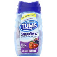Tums Smoothies Smooth Dissolve Extra Strength 750 Berry Fusion - 750 mg - 60 Chewable Tablets Pack of 4