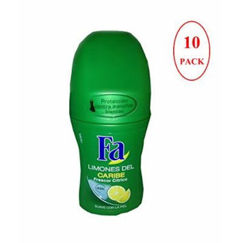 Fa Caribbean Lemon Roll-on Deo Deodorant 50 Ml Pack of 10