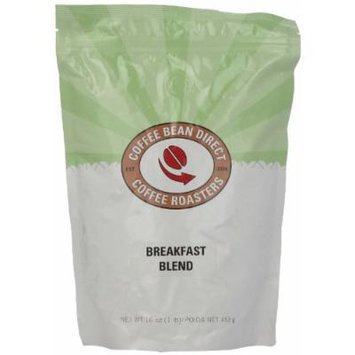 Coffee Bean Direct Breakfast Blend, Whole Bean Coffee, 16-Ounce Bags (Pack of 3)