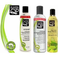 Elasta Qp Trio Set (Creme Conditioning Shampoo, Intense Conditioning Treatment, Growth Oil) Plus 1 Free of Apple EYE Pencil Color: Life Green