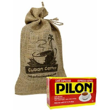 Pilon Cuban Style Coffee 10 oz vacuum bag, includes a beautiful burlap bag.