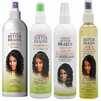 Better Braids Medicated 4PCS Big Bumbo (Braid spray, Leave In Conditioner, Shampoo, and Hair/Scalp Oil) Includes 1 Free Eye Pencil