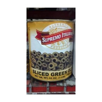 Supremo Italiano: Sliced Green Olives 10# Can