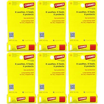 Carmex Original Lip Balm Sunscreen Stick SPF 15, 0.15 Oz (Pack of 6)