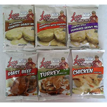 Larry the cable guy Gravy Mixes Six Pack Sampler Old Fashioned Country, Roast Beef,Turkey, Chicken Gravy mix, Peppered Gravy Country Style and Peppered Gravy with Sausage Mixes
