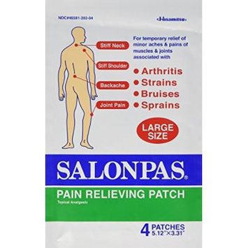 Salonpas Pain Relief Patches, Large (Pack of 8 (32 Patches Total))