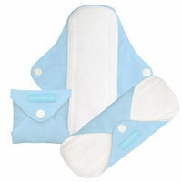 Charlie Banana Washable Reusable Super Feminine Menstrual Pads - 3 Pack (Baby Blue)
