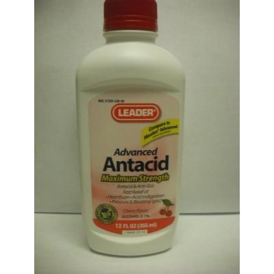 Leader Antacid Max Strength Liquid Cherry 12 oz (4 Pack)