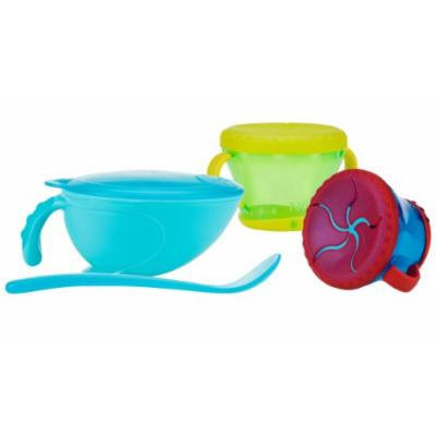 Nuby Non-Skid Comfort Grip Feeding Bowl with 2 Pack Snack Keeper, Aqua