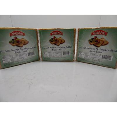 Marco Polo Rusk Toast - Toasted Bread 3 Pack 7.76oz (No Salt No Fat No Sugar Added)