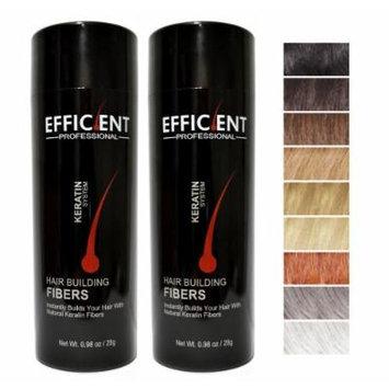 2 of EFFICIENT Keratin Hair Building Fibers, Hair Loss Concealer Net Wt. 28gm / 0.98 oz (Black)