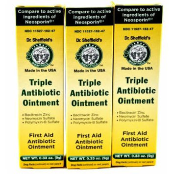 Dr. Sheffields Triple Antibiotic Ointment (3-Pack, Each Tube Is 0.33 Oz.) Compare to the Active Ingredients of Neosporin®