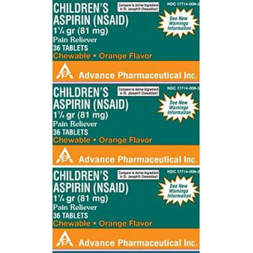 Aspirin 81mg Chewable Orange Flavored Tablets Generic for St. Joseph Chewable Aspirin 36 Tablets per Bottle Pack of 3 Toatal 108 Tablets