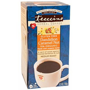 Teeccino Dandelion Caramel Nut Chicory Herbal Tea Bags, Gluten Free, Acid and Caffeine Free, 25 Count (Pack of 3)