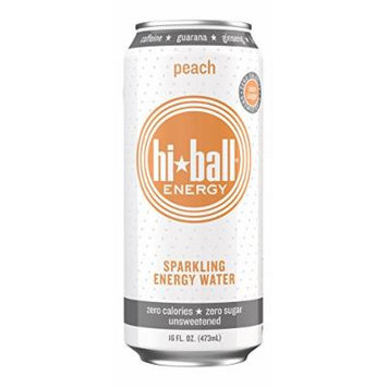 Hiball Energy Sparkling Water, Peach, 16 Ounce (Pack of 12)
