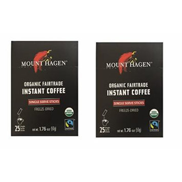Mount Hagen -REGULAR Organic Instant Coffee Freeze Dried 25 Single Serve Packets- 1.76 Oz Each , (Pack of 2)