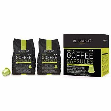 40 Bestpresso Nespresso Compatible Gourmet Coffee Capsules - Nespresso Pods Alternative: Arabica Blend Natural Espresso Flavor (Light Intensity) - Certified Genuine Espresso