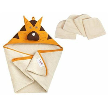3 Sprouts Hooded Towel with Organic Wash Cloths, Tiger