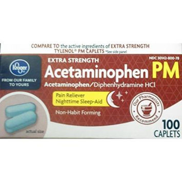Kroger Extra Strength Pain Relief, Acetaminophen PM, 100 caplets, Compare to active ingredient in Tylenol PM Caplets