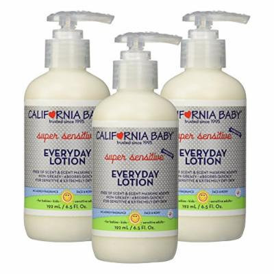 California Baby Everyday Lotion Super Sensitive - No Fragrance, 6.5 oz. (3 Pack)