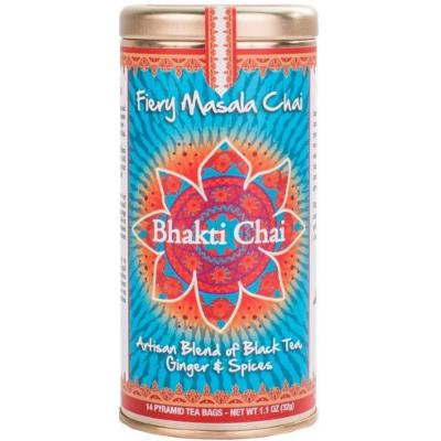 Bhakti Chai Fiery Masala Chai, Two Canisters, Each with 14 Pyramid Bags