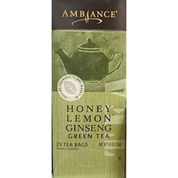 1.8oz Ambiance Honey Lemon Ginseng Green Tea, 25 Tea Bags (One Box)