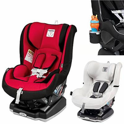Peg Perego Primo Viaggio Infant Convertible Car Seat w Clima Cover, White & Cup Holder (Rouge)